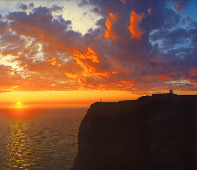 Solnedgang på Nordkapp